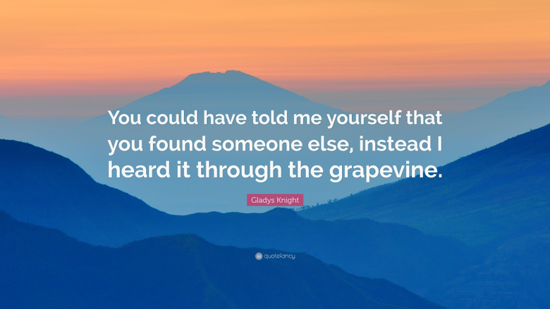 Gladys Knight Quote You could have told me yourself that you found