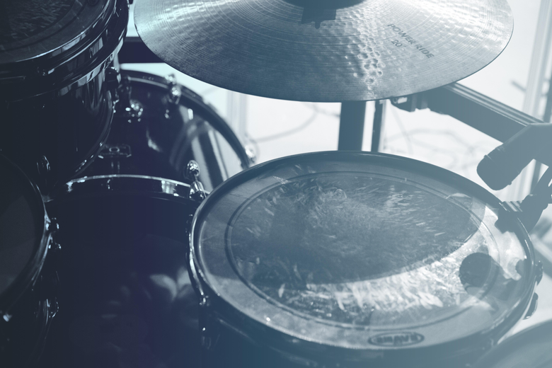 drum kit with shadow and cymbal image