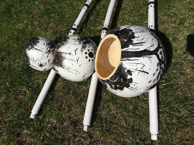 Bateria Berimbau Trio White African Design by Bateriando