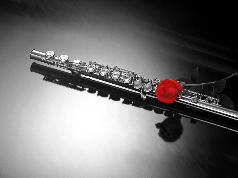 Clarinet And Rose 1024x768