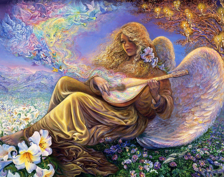 Angel playing Lute in Flower Field Wallpapers and Backgrounds Image