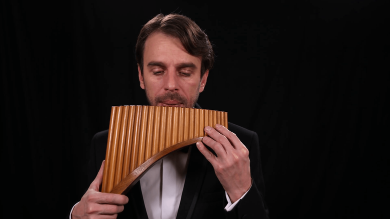 Talented Musician Play Pan Flute Romanian Instrument Man Performing