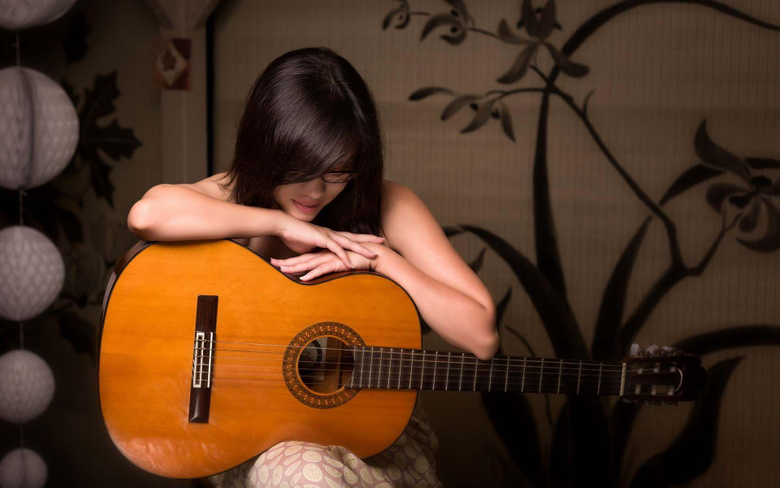 Girl Guitar Music Mood Wallpapers