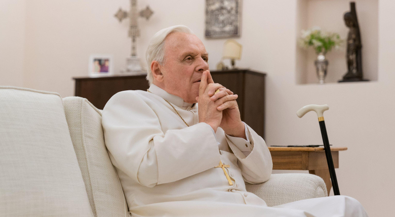 Anthony Hopkins carries hefty burden in The Two Popes