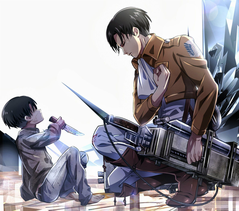 Levi Ackerman saluting to his younger self The feels are real