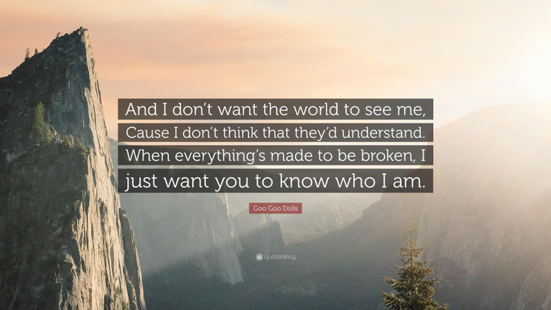 Goo Goo Dolls Quote And I don t want the world to see me Cause I