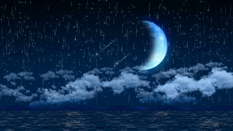 Seamless 3d animation of night sky with clouds and falling star