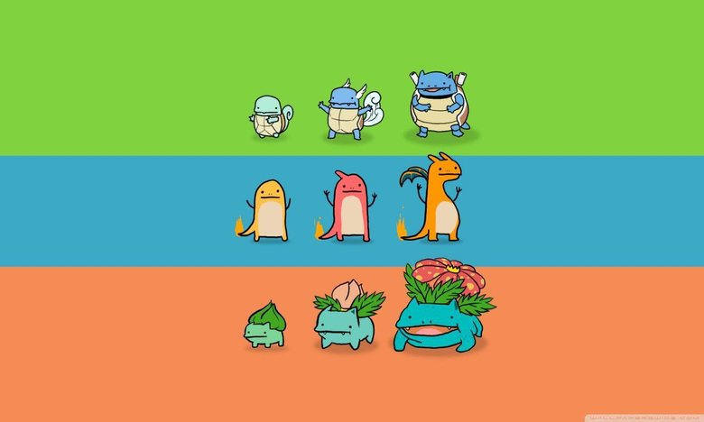 Bulbasaur Charmander and Squirtle 4K HD Desktop Wallpapers for