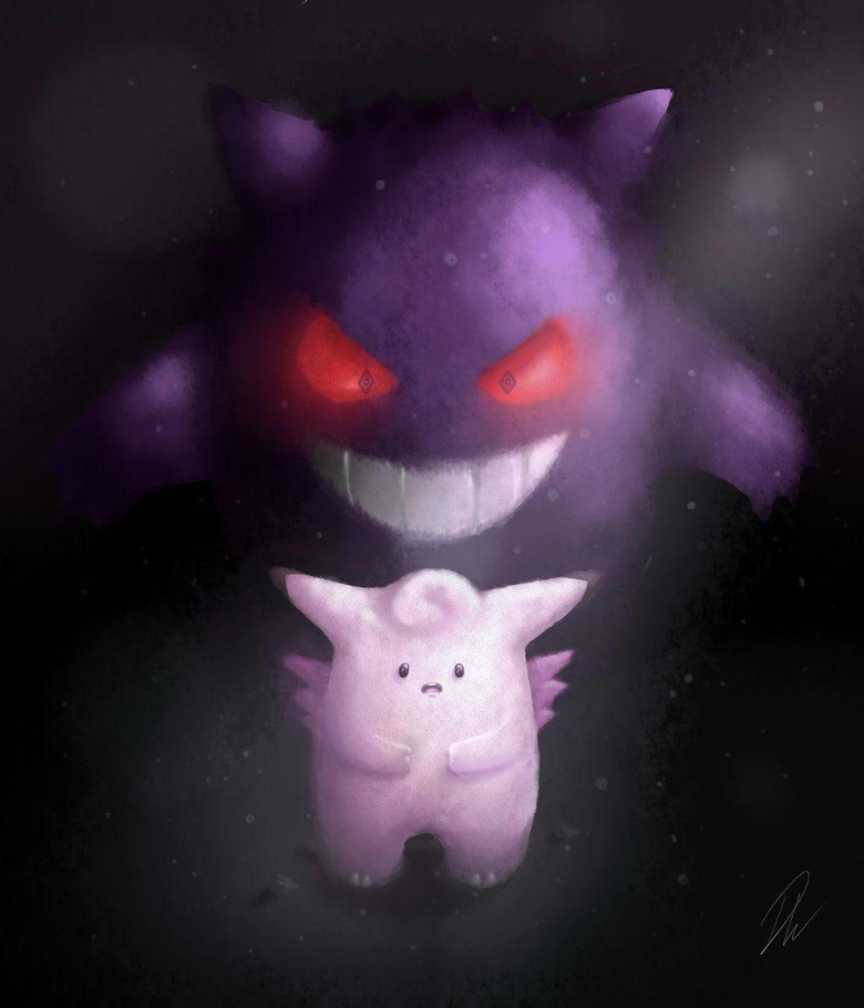 Clefable and Gengar by SolarCookie
