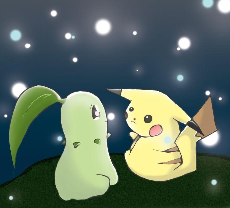 Pikachu and Chikorita Sparkles by Ah