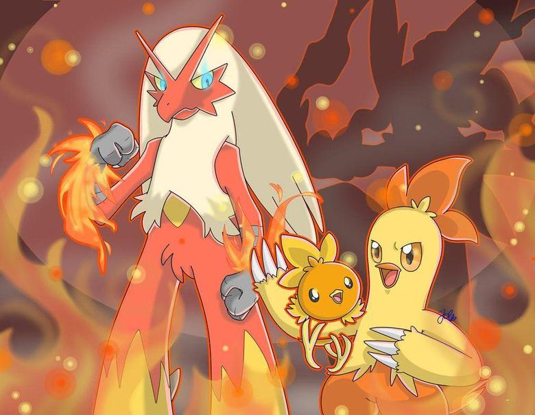 SpeedArt Pokemon Torchic Combusken Blaziken by JaidenAnimations