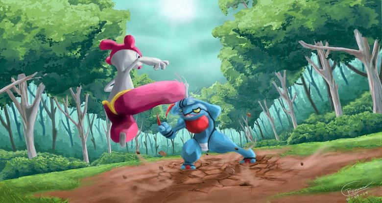 Medicham And Toxicroak Battle by Ruerom
