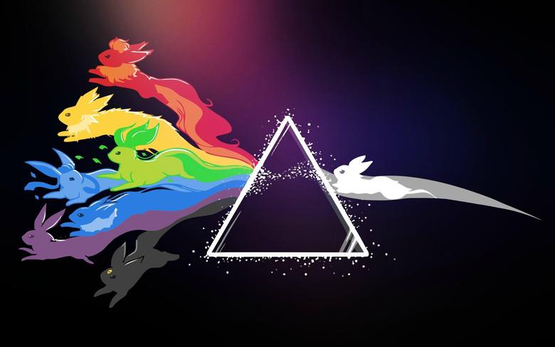 anime Triangle Rainbows Pokémon Eevee Flareon Jolteon