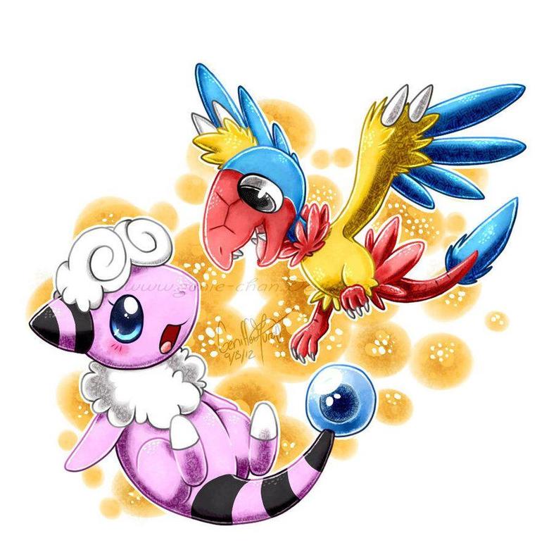 Archen and Flaaffy by GenyStar