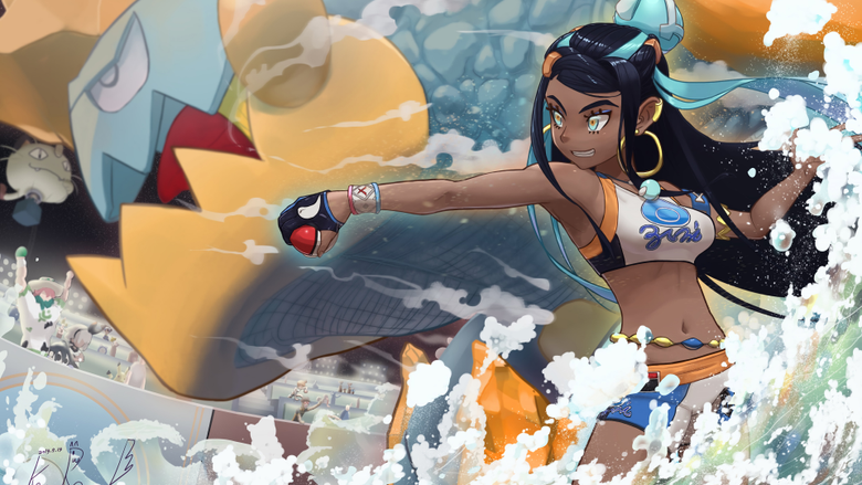 Nessa and Drednaw from Pokemon Sword and Shield Anime