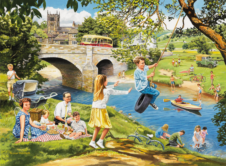 Picnic on the Riverbank Wall Mural