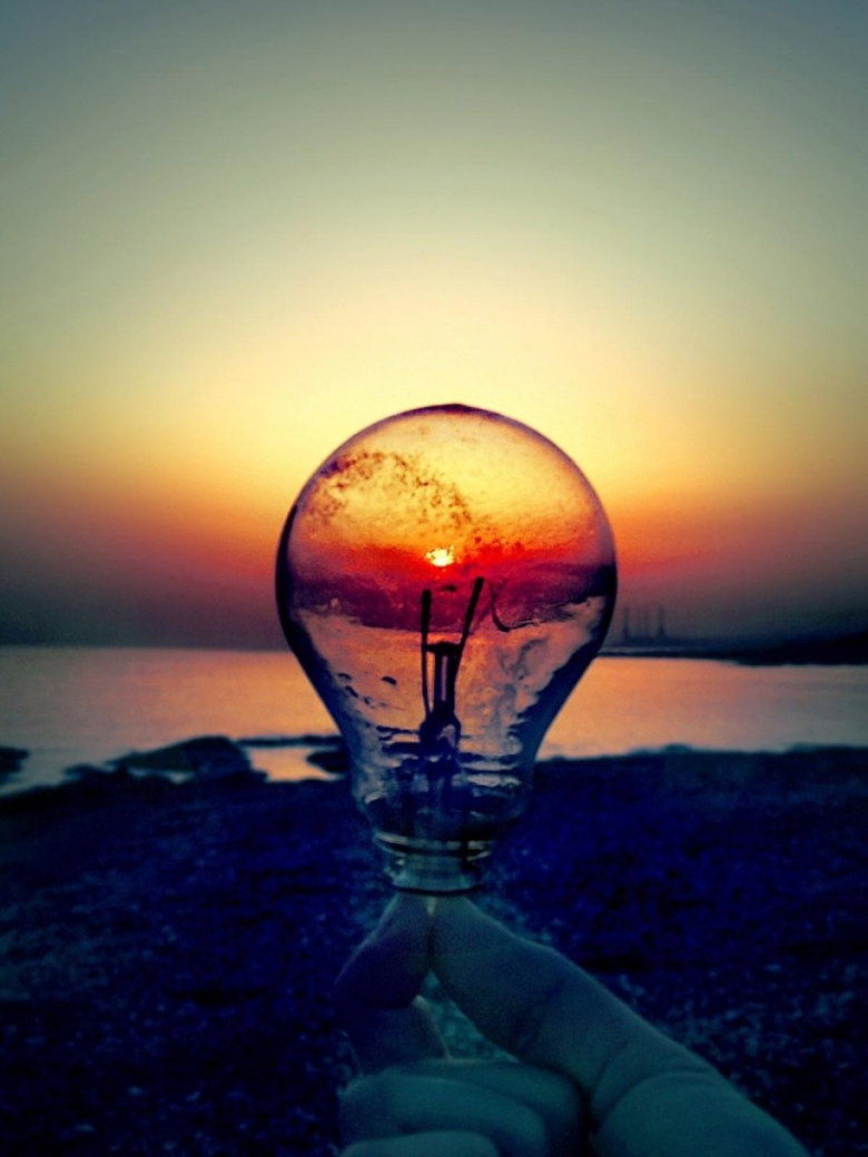 Light Bulb Sunset Beach Android Wallpapers