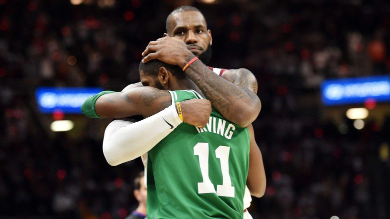 WATCH LeBron James Kyrie Irving hug it out after game