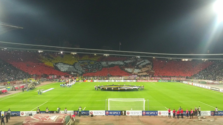Interesting choreography before the match by Red Star fans Gunners
