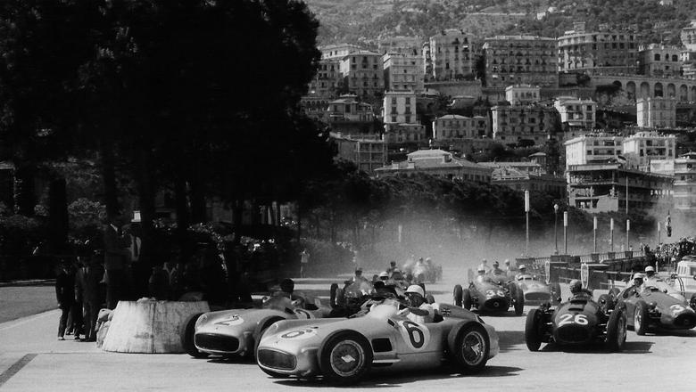autocar Stirling Moss and Fangio in the 1955 Monaco Grand Prix