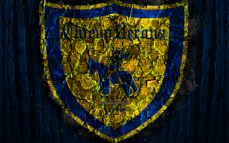 wallpapers Chievo FC scorched logo Serie A blue wooden