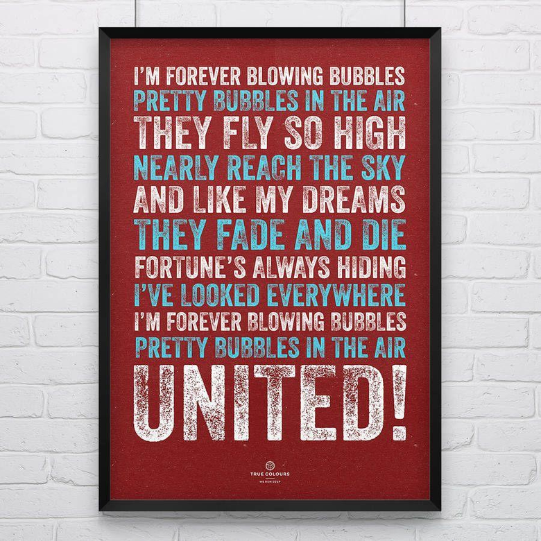 west ham united bubbles football song print by true colours