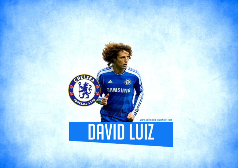 Chelsea David Luiz on the blue backgrounds wallpapers and image
