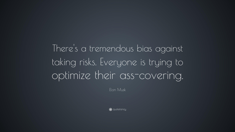 Elon Musk Quote There s a tremendous bias against taking risks