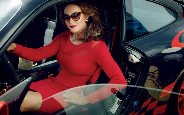 Caitlyn Jenner in a Supercar Wearing a Sexy Red Dress 1920x1200