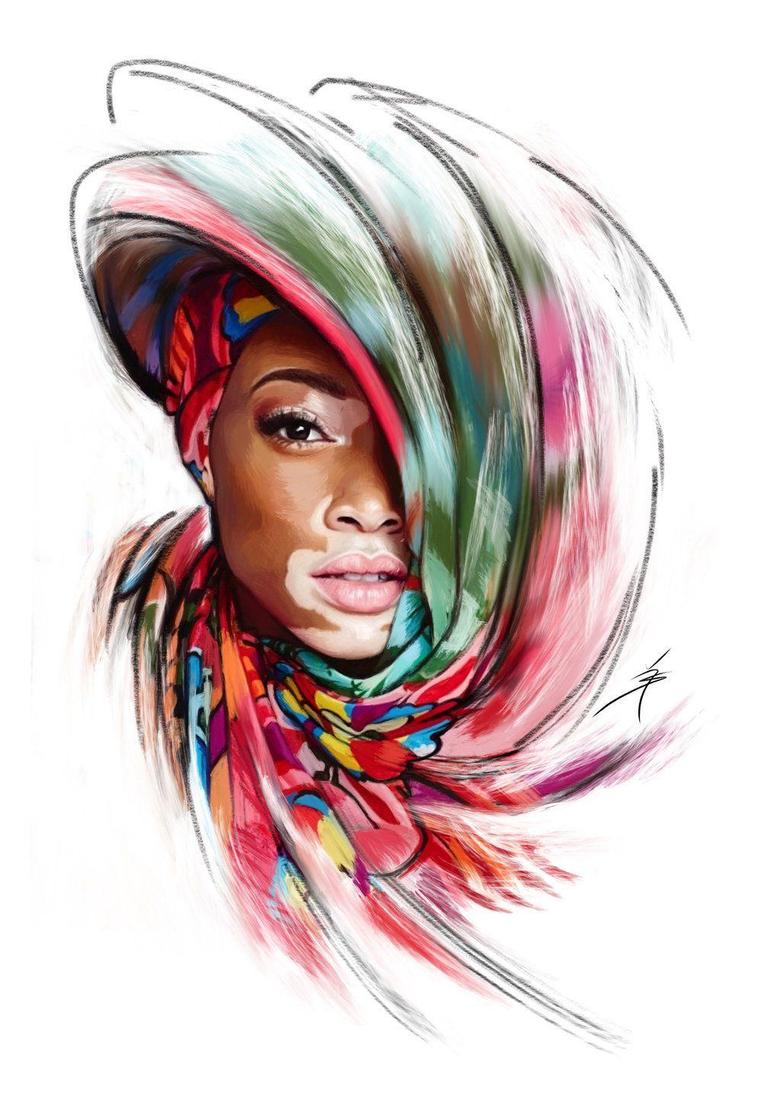 Winnie Harlow Portrait Digital Painting by Artofyasin