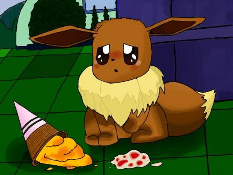 eevee want a ice cream but eevee dropped it