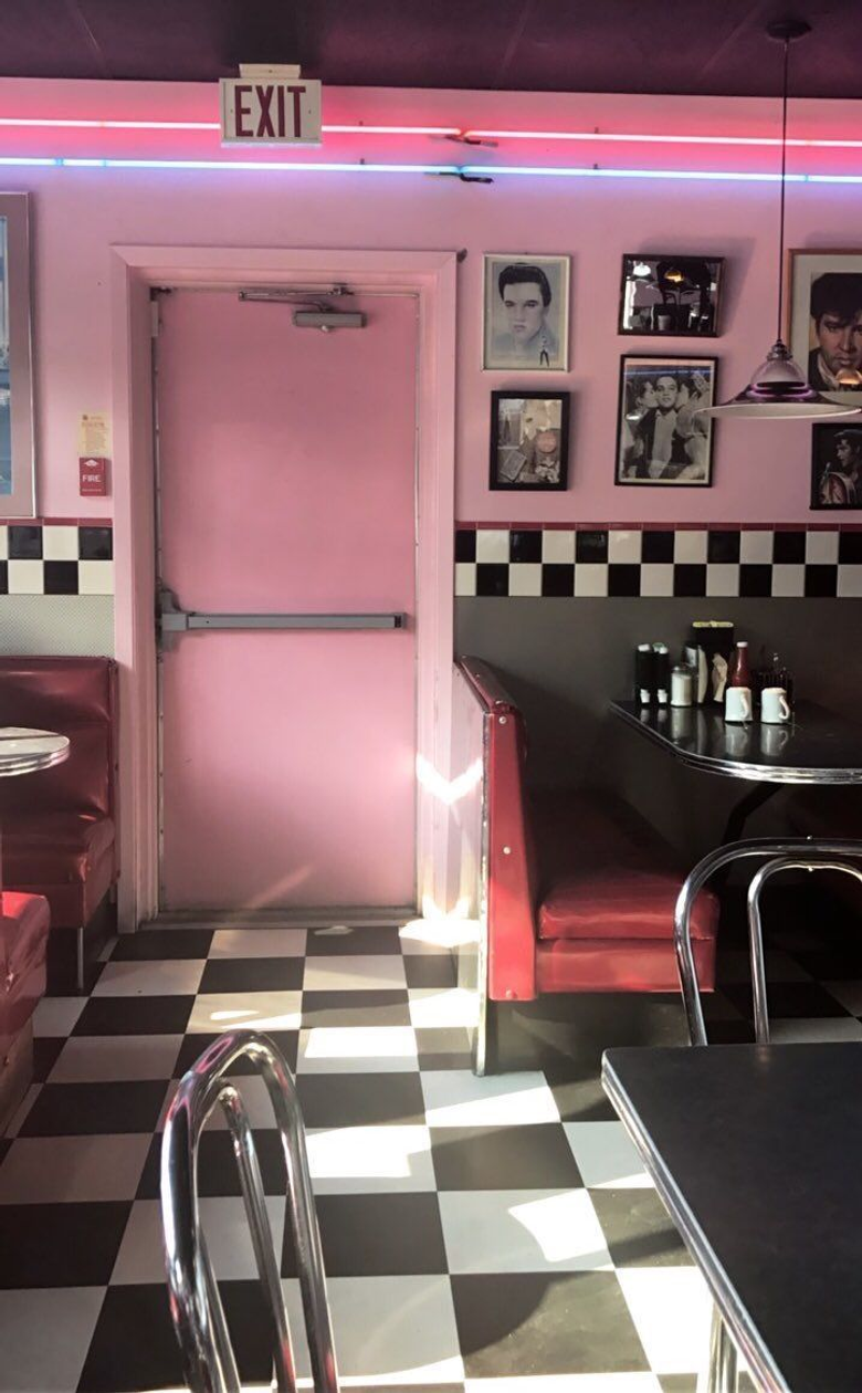 my kitchen irl idk I just tried editing it like a diner bc it was fun I had an Elvis Presley photo up idk why my mom irl put it up lol