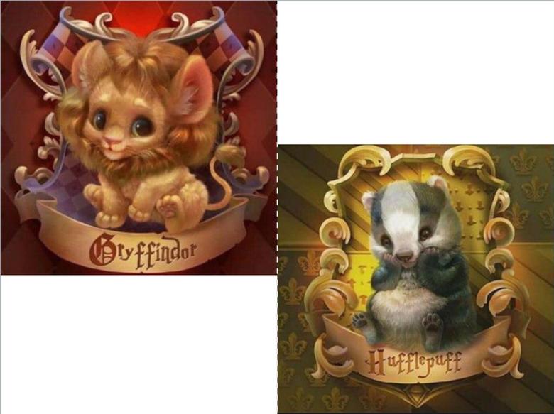 Cute Gryffindor and Hufflepuff symbols