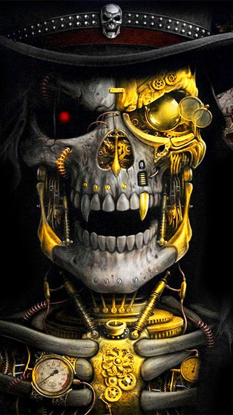 Luxury Golden Metal Skull Theme has the golden metallic skull