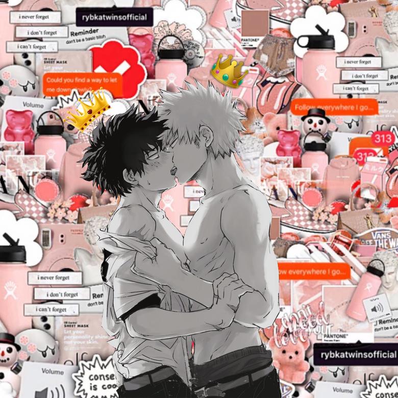 Bakugo and Deku kissing
