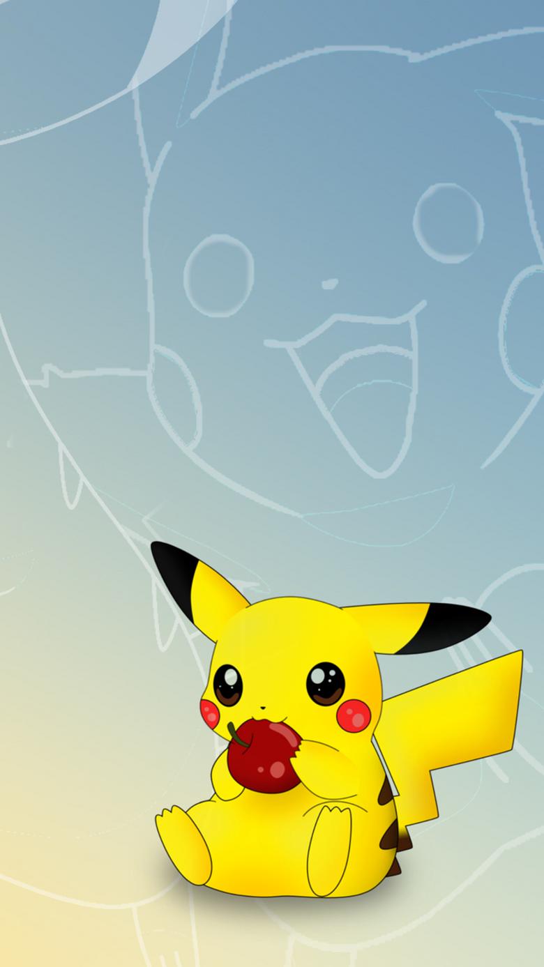 Pikachu likes eating apples