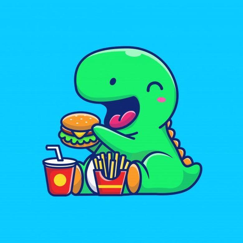 Dinosaur Eating Fast Food