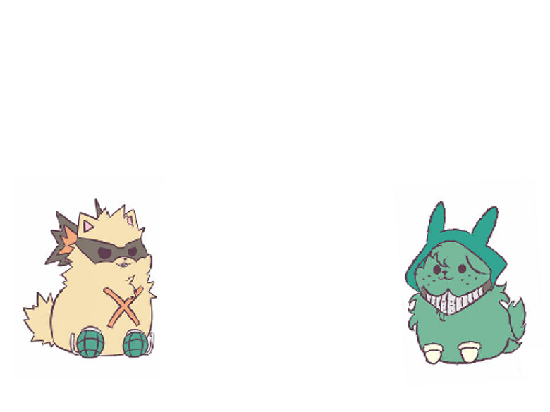 deku and baku as puppy chibie