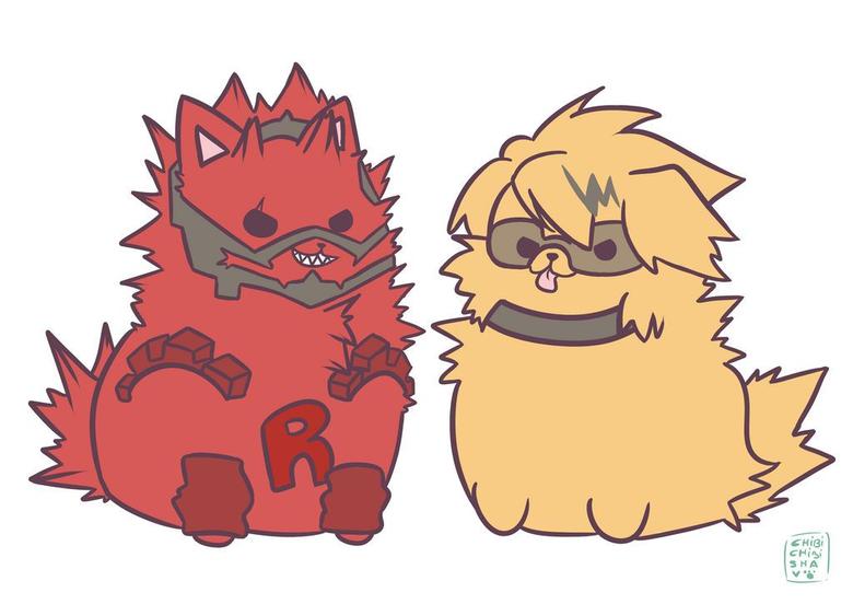kiri and kamin as puppy chibi