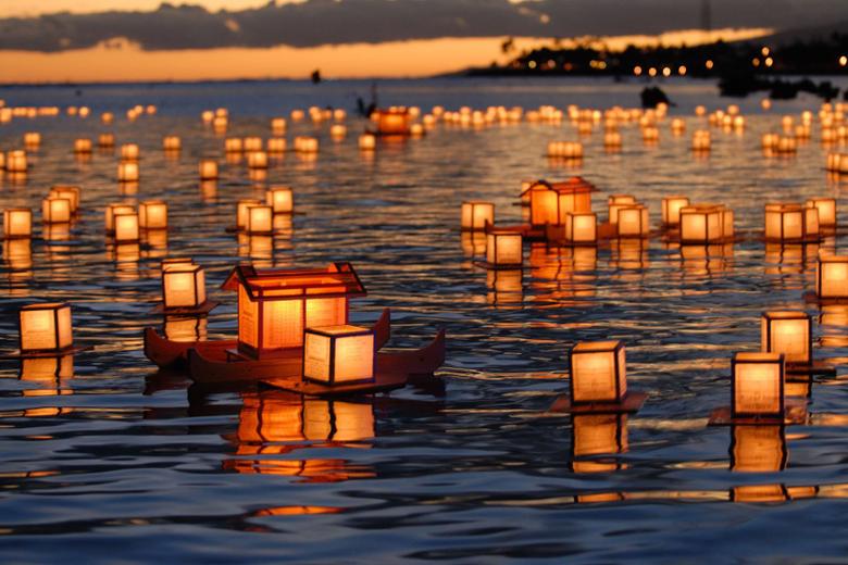lanterns in a lake