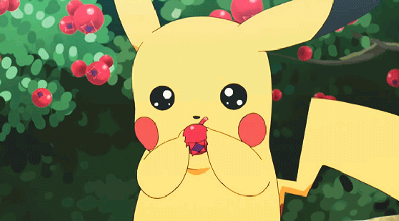 Pikachu eating a cherry Or a berry
