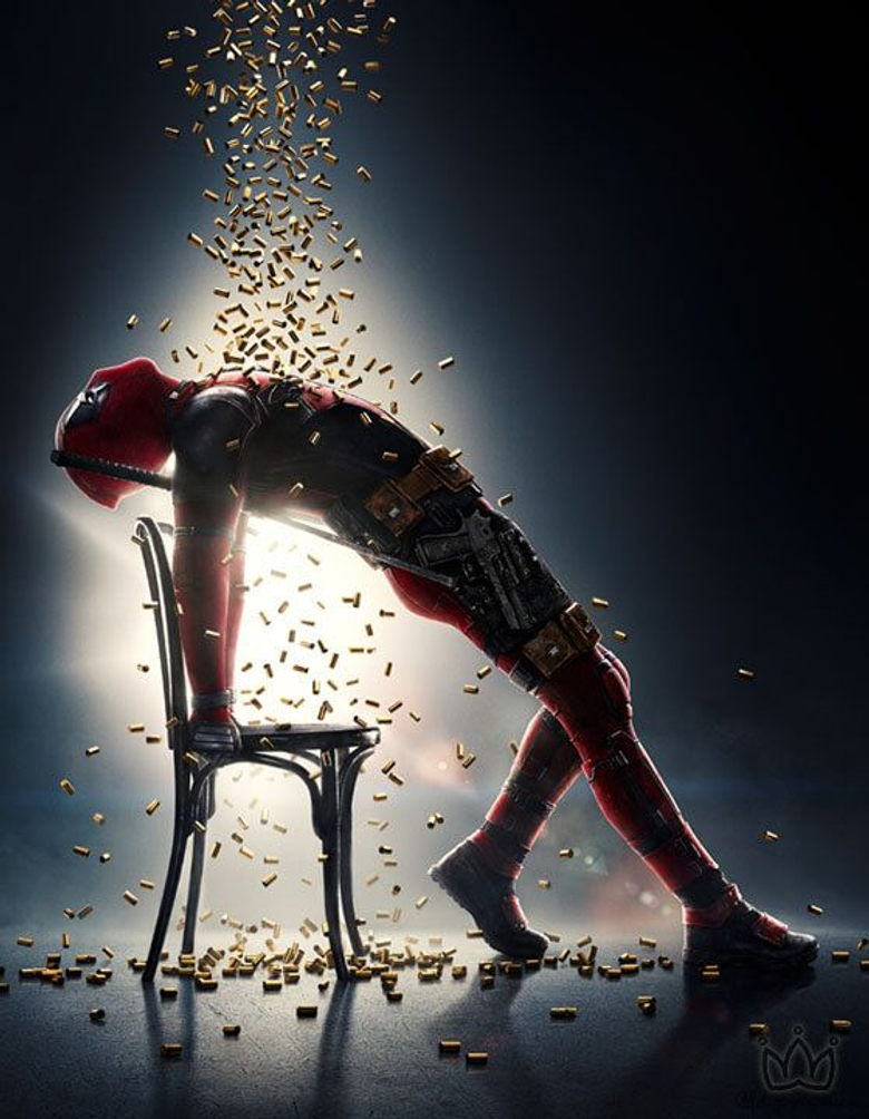 Deadpool in a shower of bullets if you havent watched this movie then you need to watch it