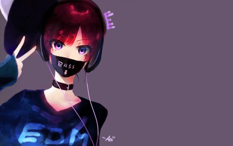 2880x1800 Anime Girl Mask Redhead Headphones