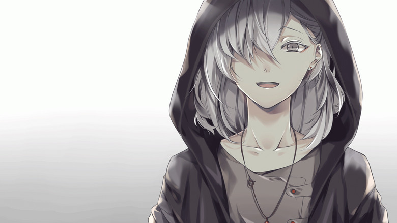 Wallpapers Anime Boy White Hair Hoodie Smiling Necklace Gray