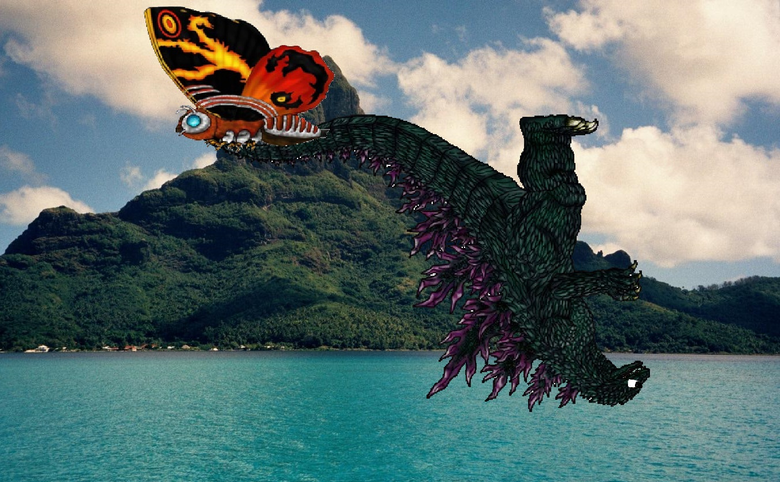 The Queen of Monsters Mothra Carries The King of Monsters Godzilla XD