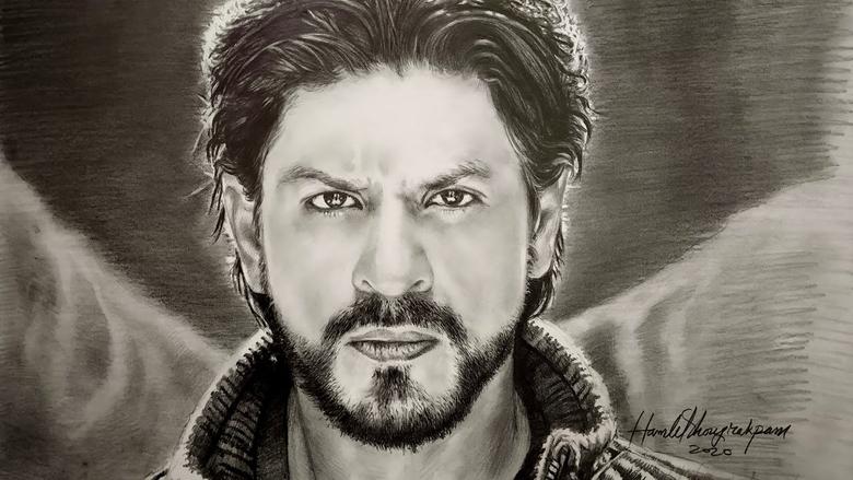 Sharukh Khan pencil sketch By Artist Hamlet Shougrakpam