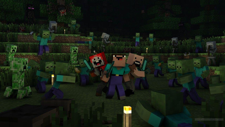 noob tnt and notch vs zombies