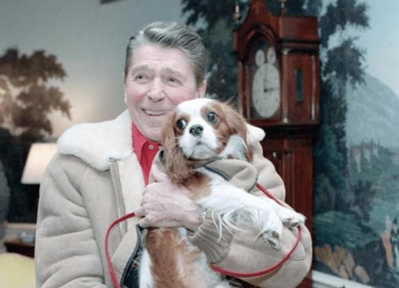 Former President Ronald Regan with Rex the Cavalier King Charles Spaniel