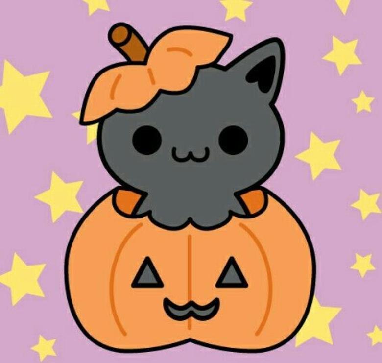 Kitty looks plump in a pumkin