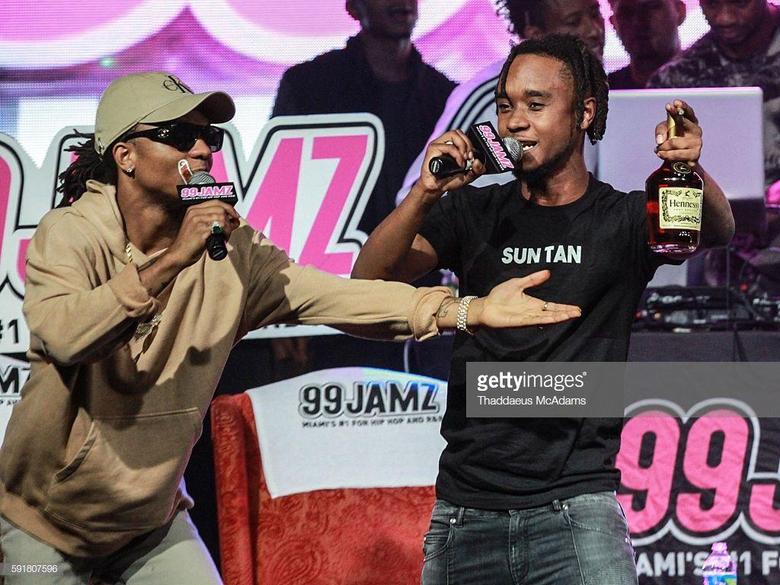 Swae Lee and Slim Jxmmi of Rae Sremmurd onstage at 99 Jamz